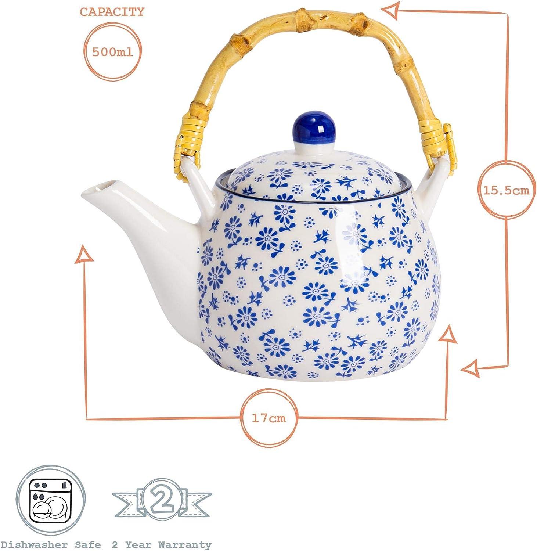 Nicola Spring Th/éi/ère//cafeti/ère avec Motifs de Marguerites Blanches et Bleues et poign/ée en Bambou 17,5 oz 500 ML