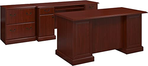 Bush Furniture kathy ireland Home Bennington Manager s Desk, Credenza and Lateral File, Harvest Cherry