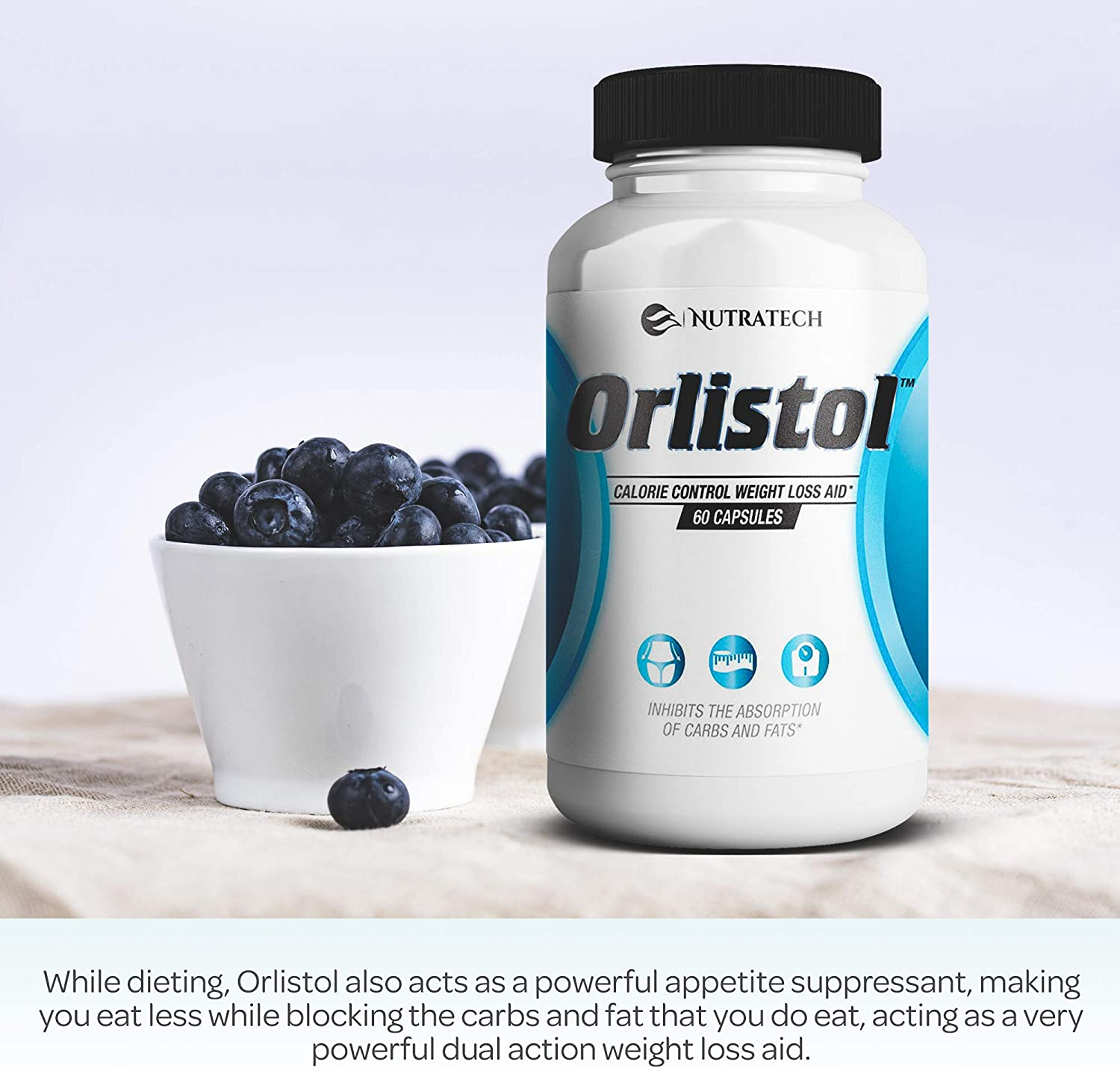 Nutratech Orlistol - Carb and Fat Blocker Weight Loss Aid and Diet Pill for Powerful Fat Burning and Appetite Suppression. Excellent for Keto Diet to Get Back into Ketosis Quickly. 60 Count.