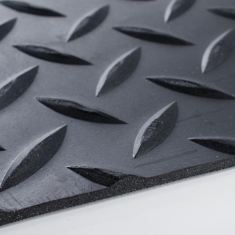 Alfombras de Caucho Resistentes Suelo de Goma Antideslizante 100x200 cm Acanalado Fino Negro Aislamiento T/érmico y Ac/ústico etm Rollos Caucho para Suelo 3mm