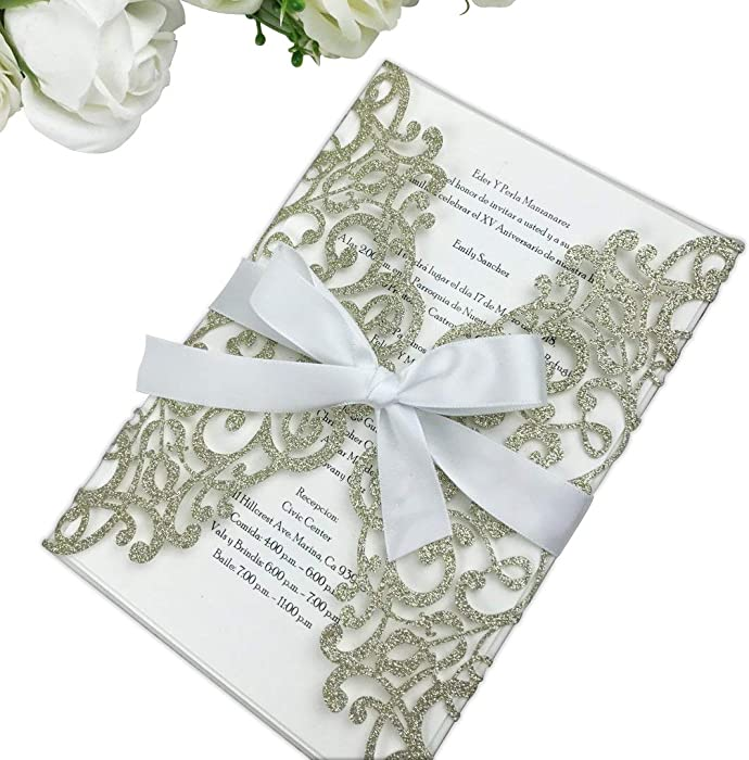PONATIA 25PCS 5.12 x 7.1 '' Laser Cut Wedding Invitations Cards with Envelopes for Wedding Baby Bridal Shower Engagement Sweet 16 Birthday Invite (Champagne Gold Glitter)