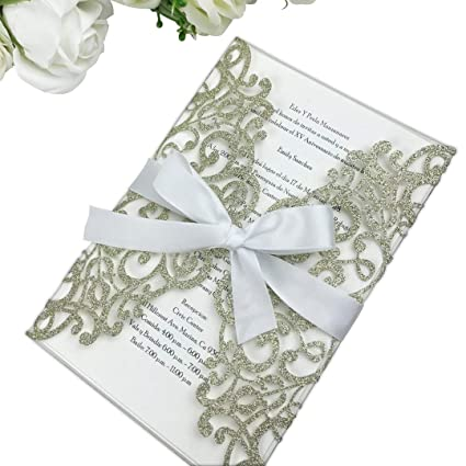 amazon com ponatia 25pcs laser cut bling invitations card with