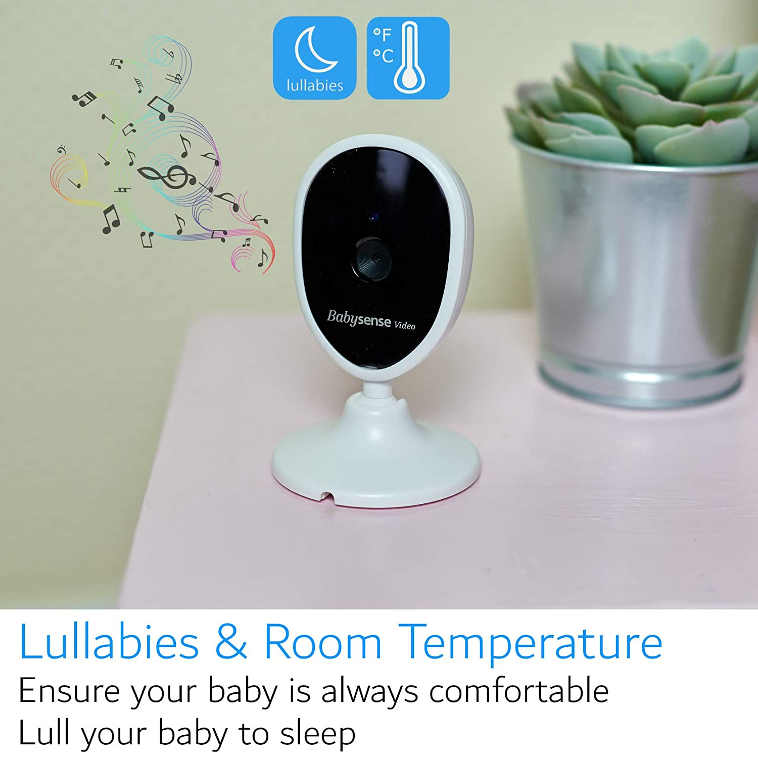 2.4 Inch LCD Display Hack-Free Lullabies Long Range Room Temperature Talk-Back Infrared Night Vision Upgraded Babysense Video Baby Monitor with Two Cameras