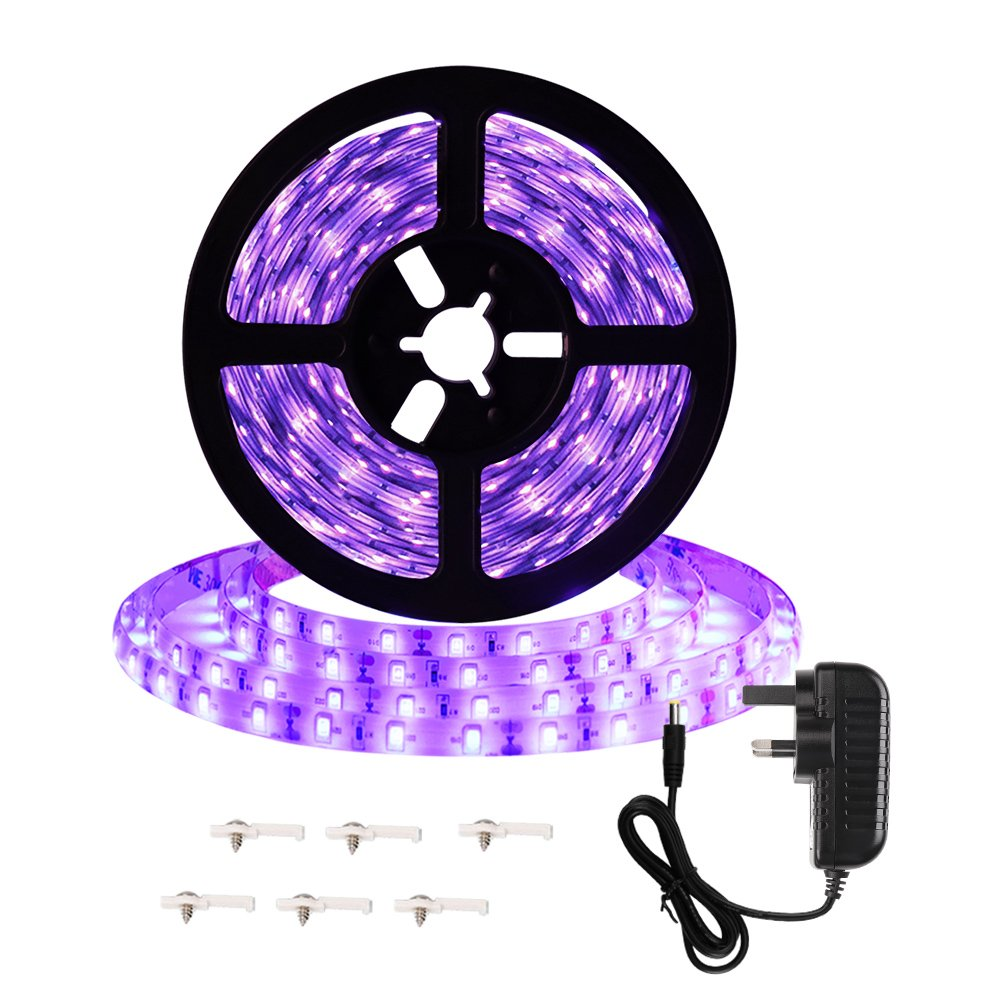 Onforu 16.4ft 5m LED UV Black Light Strip Kit, 12V 24W Flexible Black Light Fixtures With UL GS Adapter, 300 UV LED Lamp Beads, Non-Waterproof for Indoor Fluorescent Dance Party, Stage Lighting, Body Paint [Energy Class A+] KLSAU004201