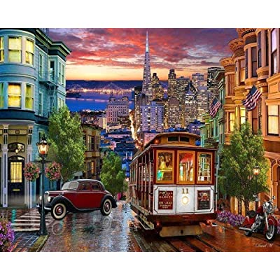 Wooden Jigsaw Puzzle Adult Kids 1000 Piece Funny Jigsaw Puzzle Games San Francisco Trolley Educational Game Stress Reliever Gift: Toys & Games