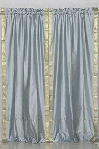 Lined-Gray 84-inch Rod Pocket Sheer Sari Curtain Panel India