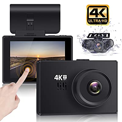 "Lifechaser Dual Dash Cam 4K Front and Rear Car Camera 1080P+1080P, 3"" OLED Touch Screen WiFi GPS Night Mode 150°, Parking Mode, Time Lapse, WDR, G-Sensor, Loop Recording for Cars, Trucks: Car Electronics"