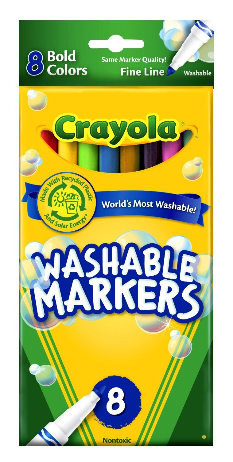Crayola Washable Markers Bold Colors Fine Tip 2 Packs 58-7836-2 8 Count