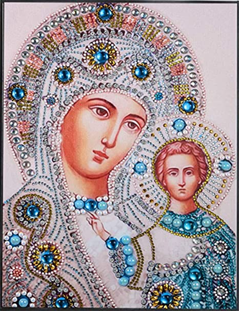5D DIY Special Shape Diamond Painting Religious Cross Stitch Mosaic Kit Wall Art
