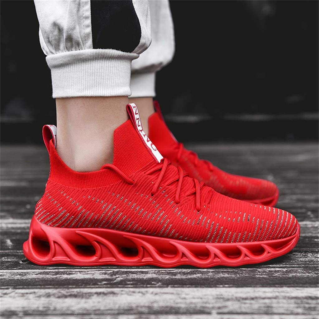 Sameno Street Sneakers Sock Sneakers for Men の Cushion Trainers Low Top Walking Shoes Cool Mens Shoes White Black Red