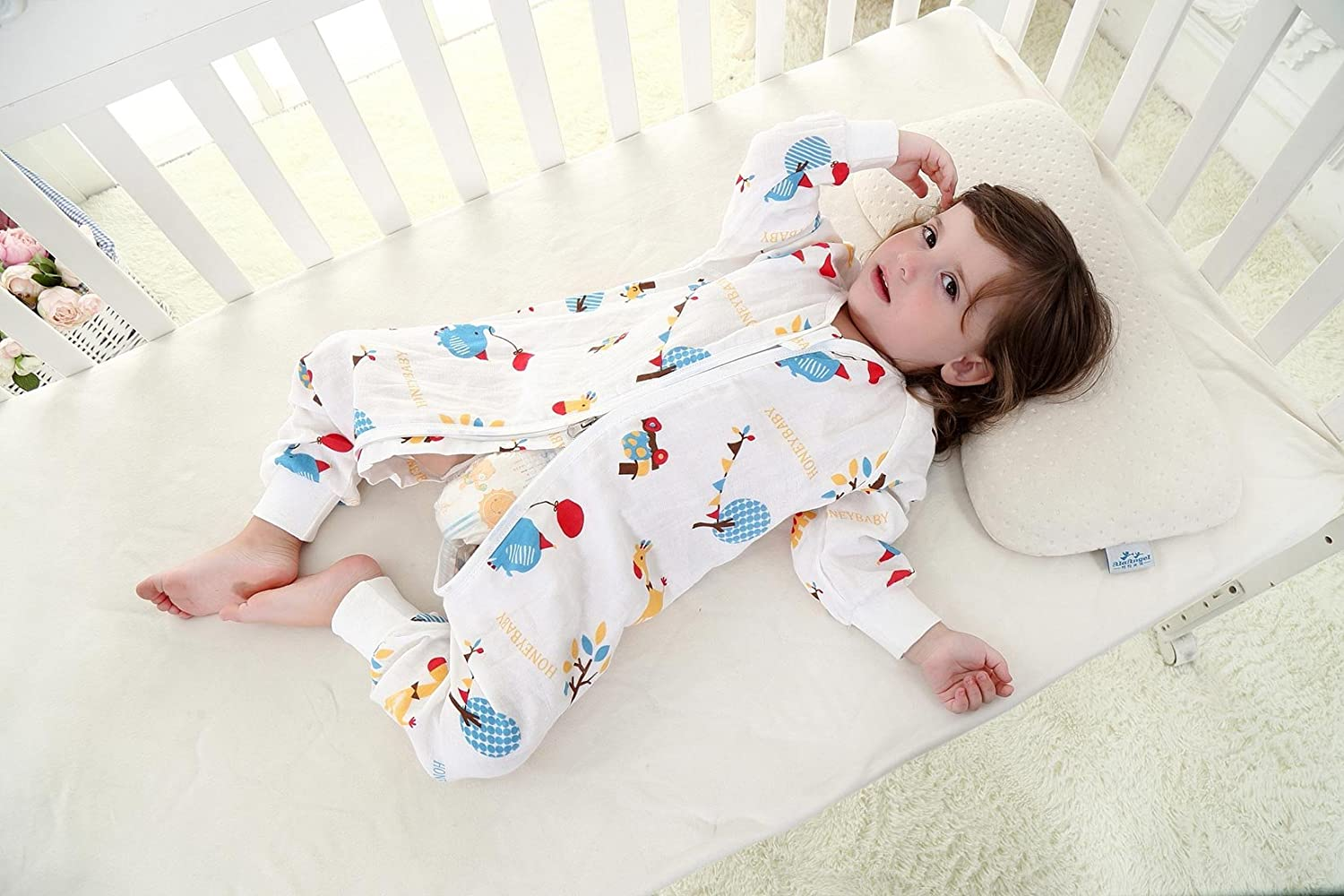 Cotton Baby Romper Sleeping Sack with Long Sleeves and Feet for Travel Air-Conditioned Rooms