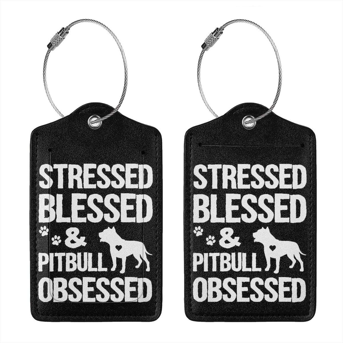 Funny Pitbull Leather Luggage Tags Suitcase Tag Travel Bag Labels With Privacy Cover For Men Women 2 Pack 4 Pack