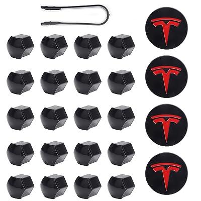 Tesla Model 3, Y, S & X Aero Wheel Cap Kit Red (4 Hub Center Cap + 20 Lug Nut Cover): Automotive