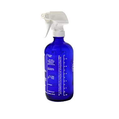 New Recipes 16 oz. Blue Glass Spray Bottle for DIY Cleaning with Essential Oils; 5 Non-Toxic, All-Natural Homemade Cleaning Recipes Printed Right on The Side. Durability Guaranteed. Made in USA.