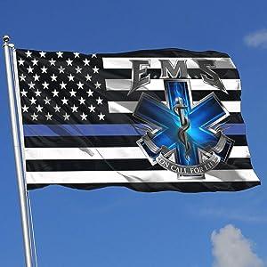 Juhucc American Flag EMS Star of Life EMT Paramedic Medic Garden Flag 3x5 Ft Banner Decoration Outdoor Flag