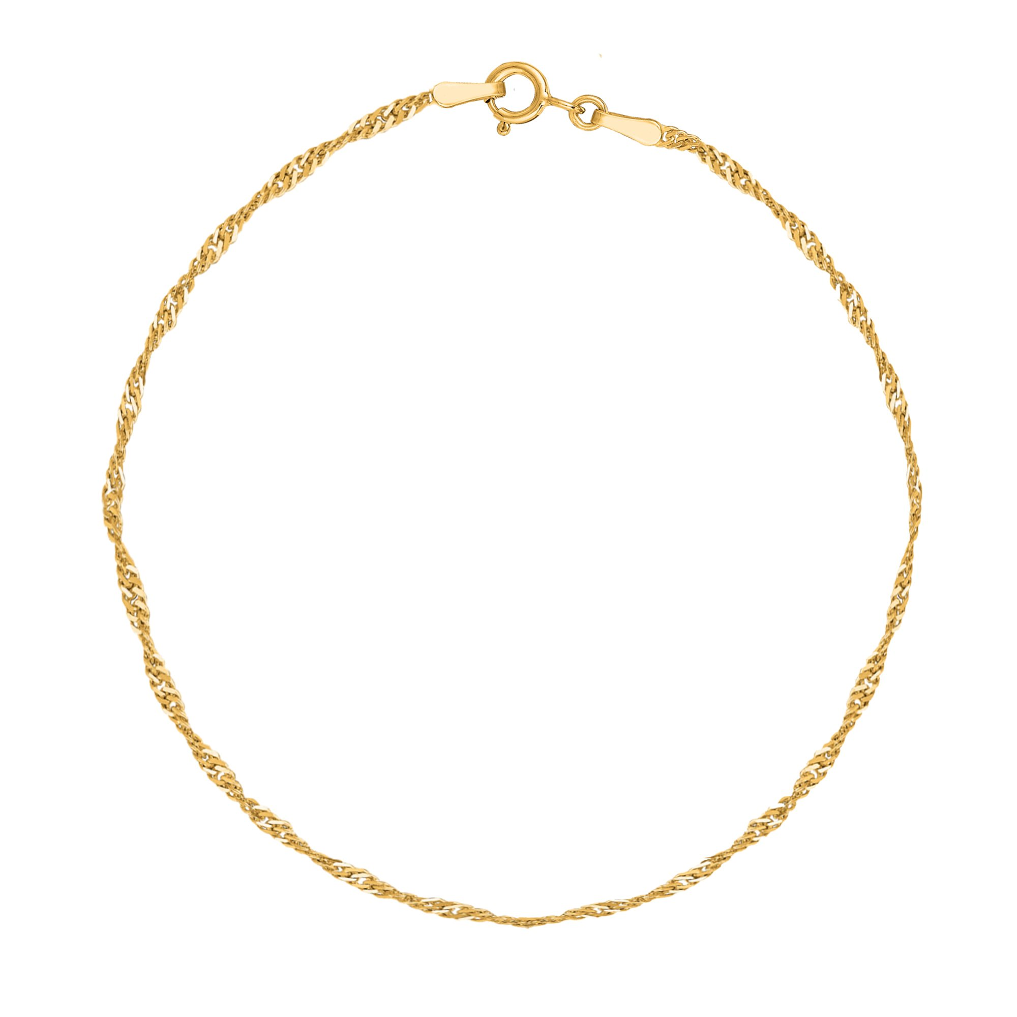 14k Real Yellow Gold Singapore Sparkle Anklet Ankle Bracelet 10 Inches