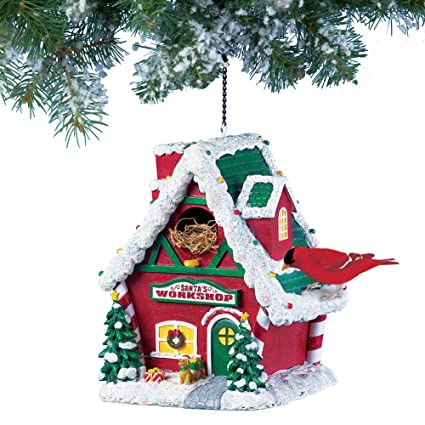 collections etc santas workshop christmas bird house decoration - Bird House Christmas Decoration