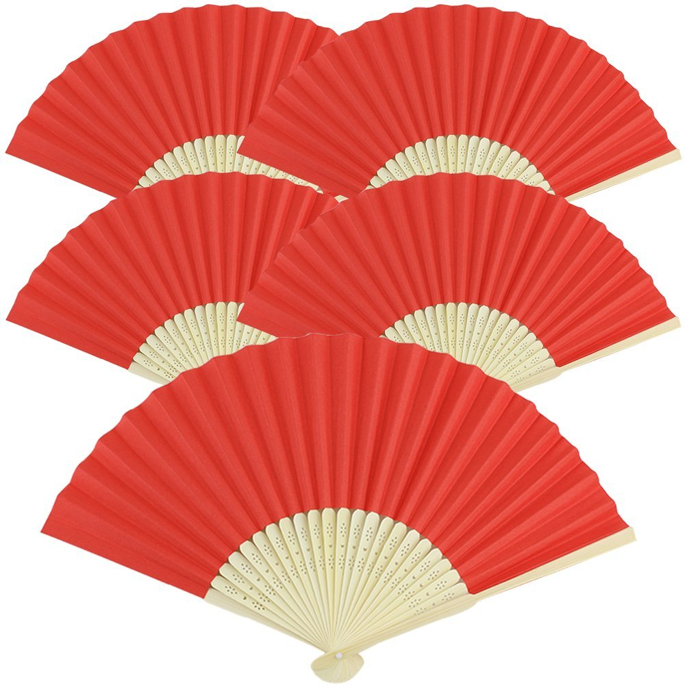 (Red (5 Pcs)) - Just Artefacts Folding Paper Hand Fan 21cm Red (5 pcs) B01CDGQN5O Red (5 Pcs)