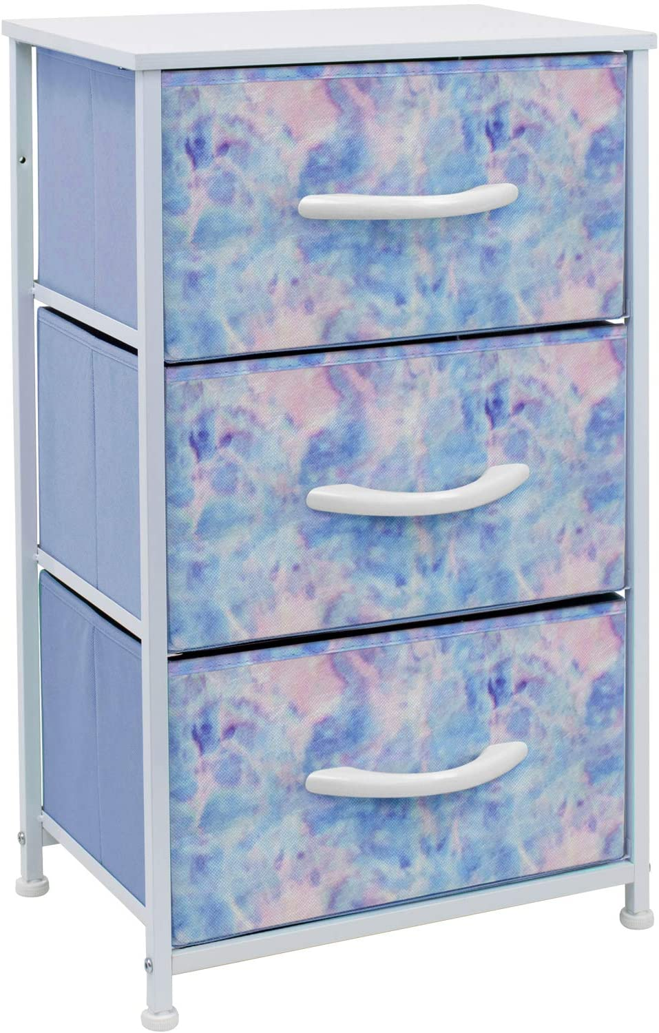 Sorbus Nightstand with 3 Drawers - Bedside Furniture & Accent End Table Chest for Home, Bedroom Accessories, Office, College Dorm, Steel Frame, Wood Top, Easy Pull Fabric Bins (Pastel Tie-dye)