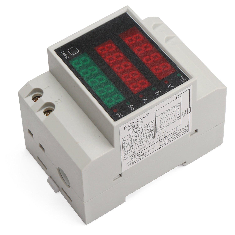 DROK DIN Rail Digital Multimeter AC Voltmeter Ammeter Power Energy KWh Meter Power Factor Accumulation Time Monitor Multifunction Meter by DROK (Image #3)