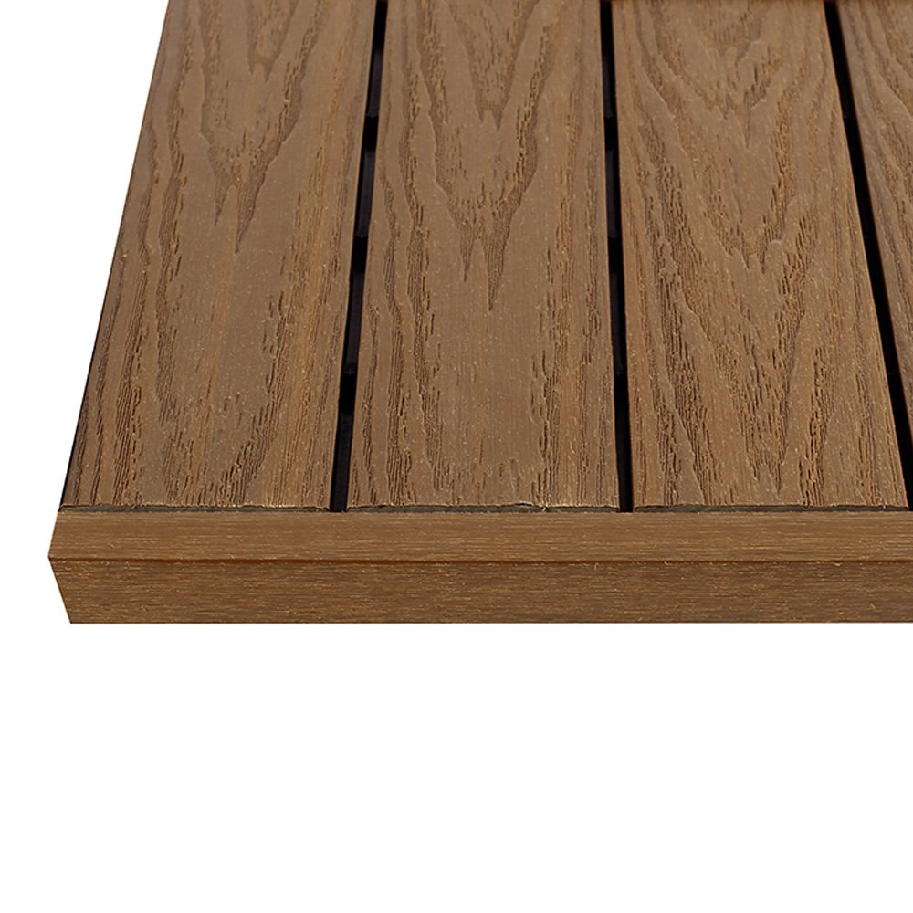 NewTechWood US-QD-ST_ZX-TK 1/6 x 1 Ft. Quick Composite Deck Tile Straight End Corner Fascia in Peruvian Teak (4-Pieces/Box)