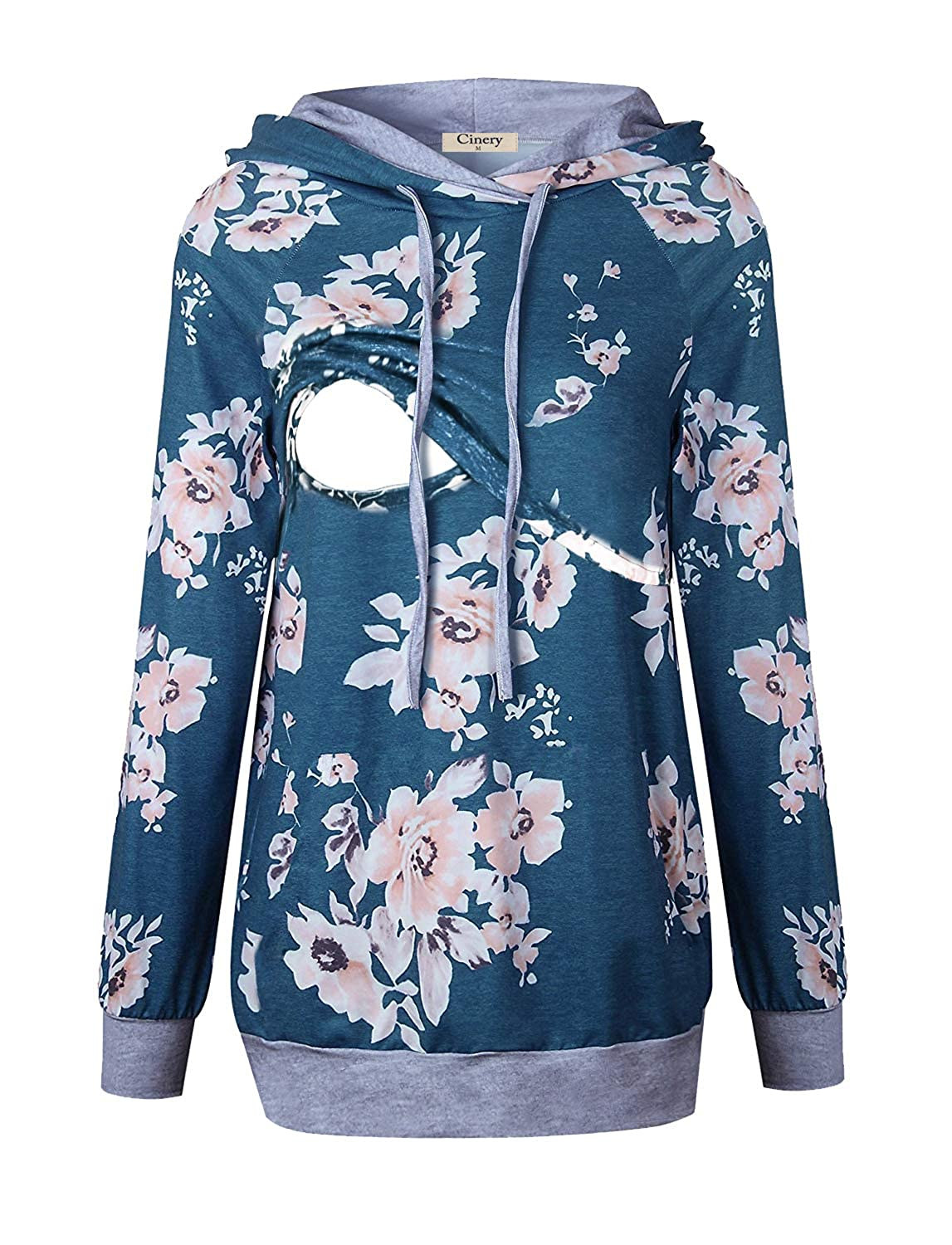Cinery Women Floral Thin Hoodies Tops Long Sleeve Nursing Breastfeeding Clothes