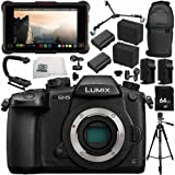 "Panasonic Lumix DC-GH5 Mirrorless Micro Four Thirds Digital Camera (Body Only) + Atomos Ninja Inferno 7"" 4K HDMI Recording Monitor 14PC Bundle – Includes 64GB SD Memory Card + MORE"