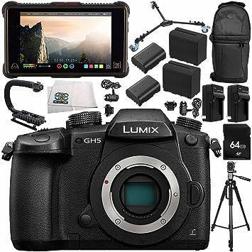 Panasonic Lumix DC-GH5 Mirrorless Micro Four Thirds Digital Camera + Atomos Ninja Inferno Recording Monitor 14PC Bundle – Includes 64GB SD Memory Card ...