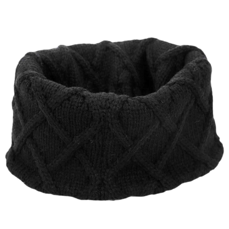 Loopschal scaldacollo sciarpa invernale sciarpa sciarpa da sci scald nero Nero modello rombo Sciarpa per bambini lavorata a maglia