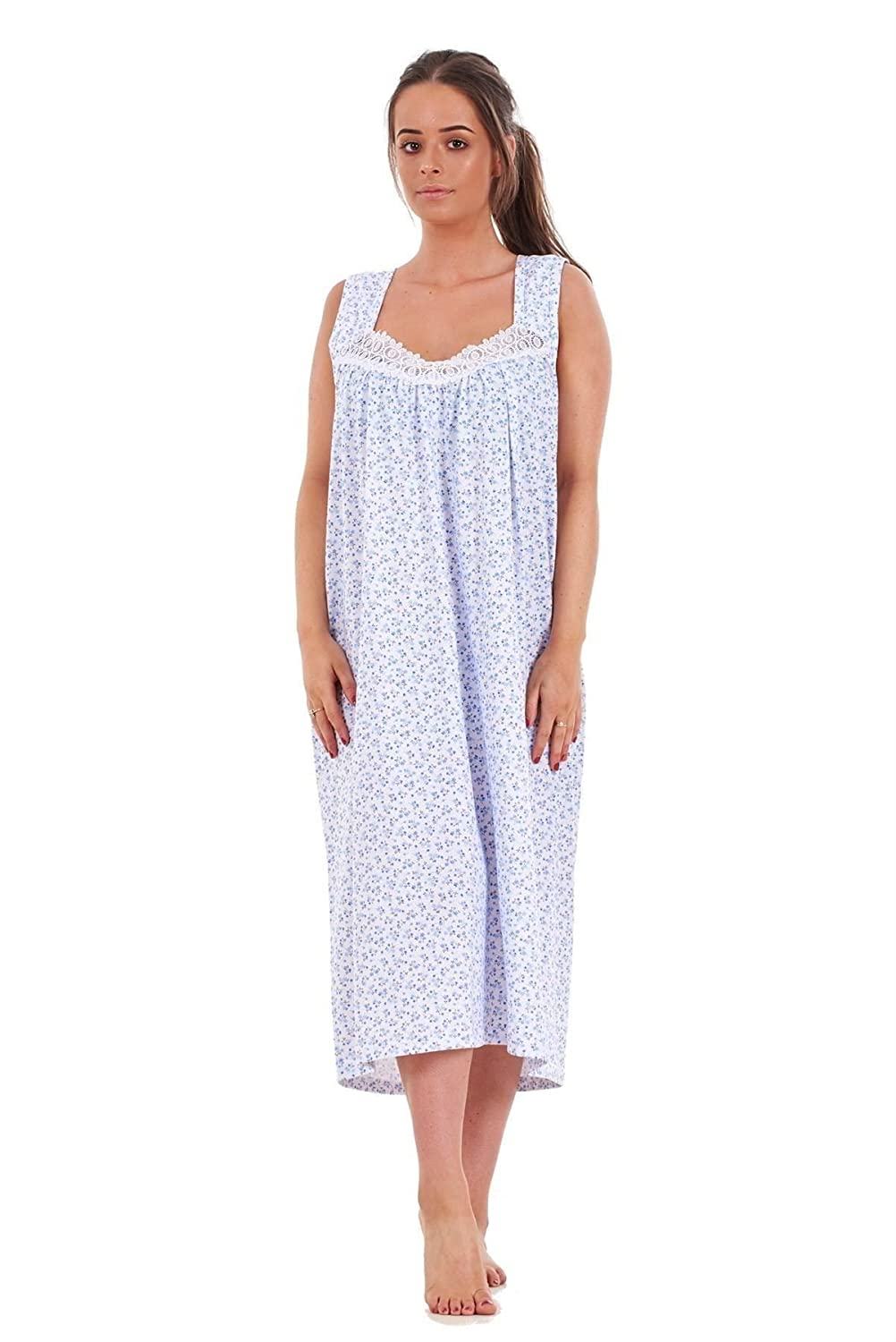 Bay eCom UK Ladies Nightwear Floral Print 100% Cotton Sleeveless Long Nightdress M to XXXL Does not Apply