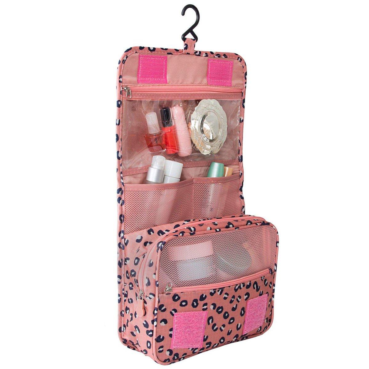 Trousse de Toilette de Voyage Pliable, EASEHOME Trousse Maquillage à Suspendre Imperméable Sac Cosmétique Maquillage Organisateur avec Crochet et Poignée pour Hommes Femmes, Léopard Pink