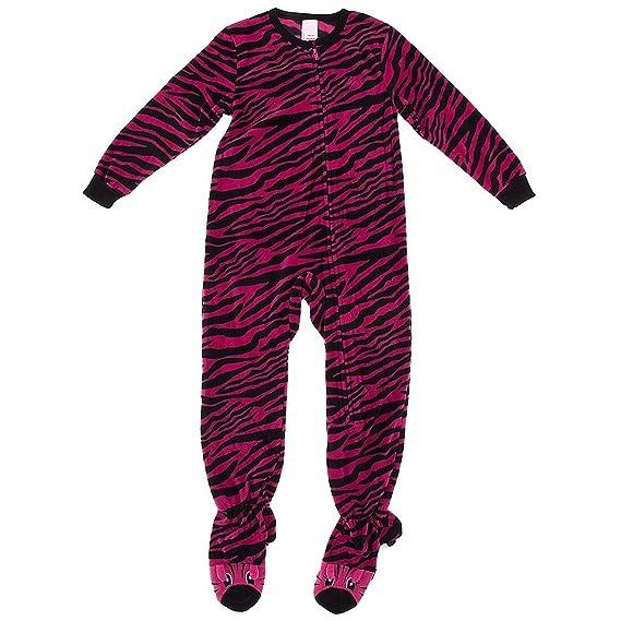 Komar Kids Big Girls' Pink Zebra Footed Pajamas L/10-12