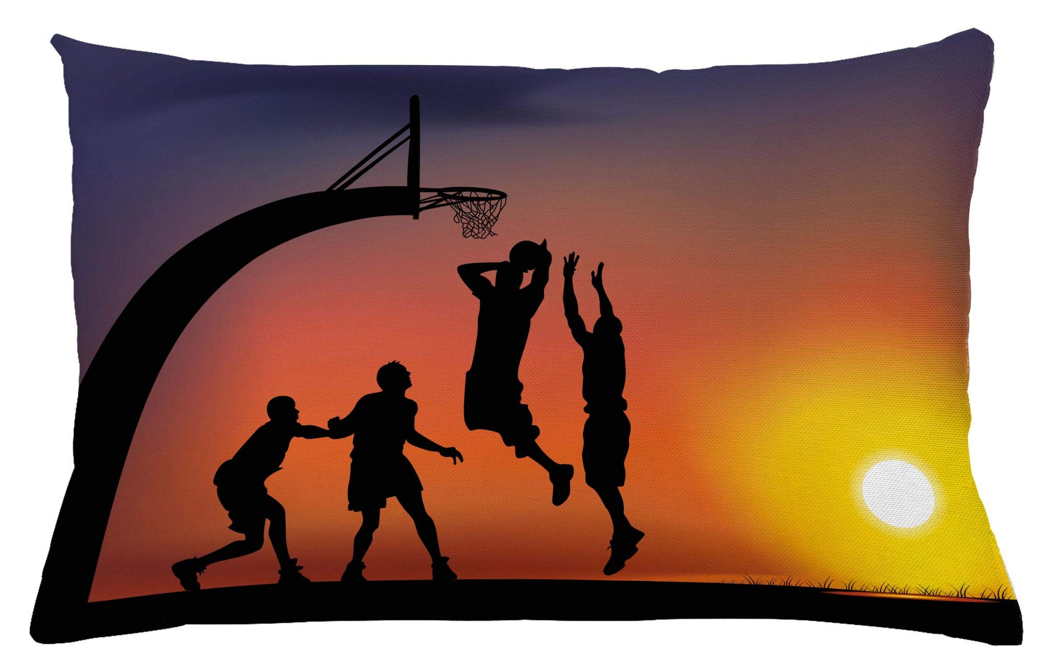 Ambesonne Teen Room Throw Pillow Cushion Cover, Boys Playing Basketball at Sunset Horizon Sky with Dramatic Scenery, Decorative Accent Pillow Case, 26 W X 16 L Inches, Dark Coral Black Yellow