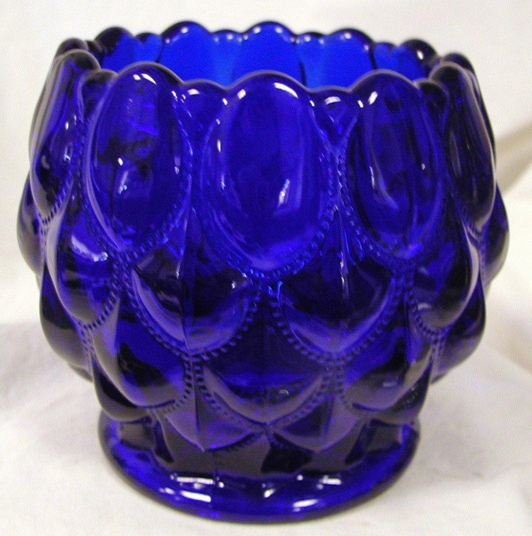Cobalt Blue Glass Elizabeth Pattern Candy Dish Rose Bowl