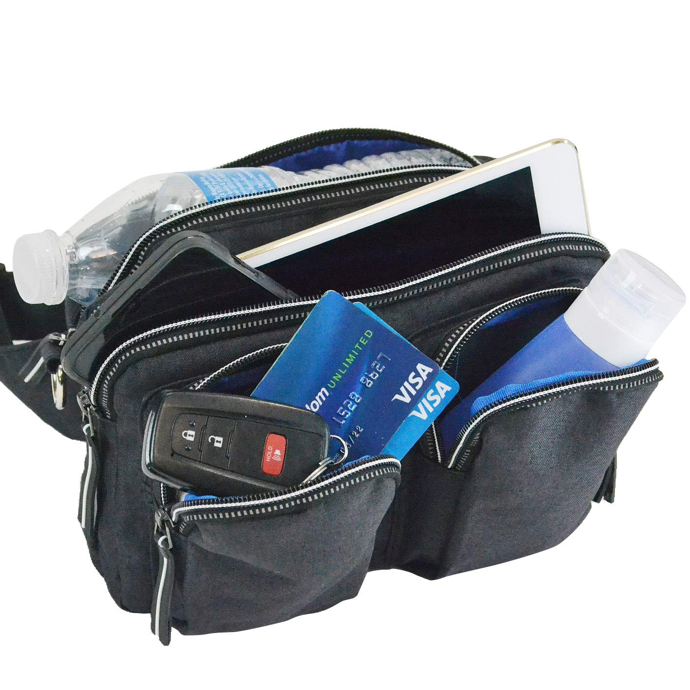 DivaCat Fanny Packs for Women Men Convertible Shoulder Bag Large Size Waist Bag Reflective Zipper Lines