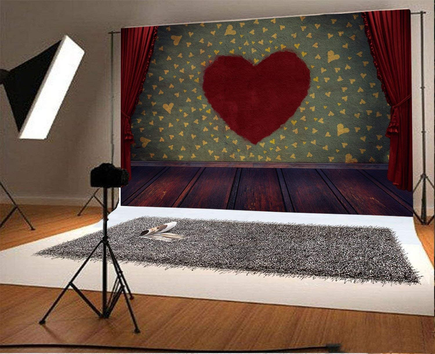 CdHBH 10x6.5ft Vinyl Photography Backdrop Shabby Chic Red Heart on Wall Brown Wood Floor Curtain Valentine Day Photo Background Children Baby Adults Portraits Backdrop
