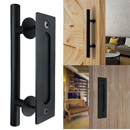 Bonnlo 12u0026quot; Sliding Barn Door Hardware Handle, Pull And Flush Door  Handle Set (