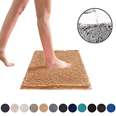 DEARTOWN 20x32 Inch TPR Non-Slip Soft Microfibers of Bathroom Rug Machine-Washable Shaggy Bath Mats (20x32 Inches, Marzipan)