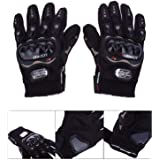 Probiker Synthetic Leather Motorcycle Gloves (Black, L) Palm width : 8.5 - 9 cm