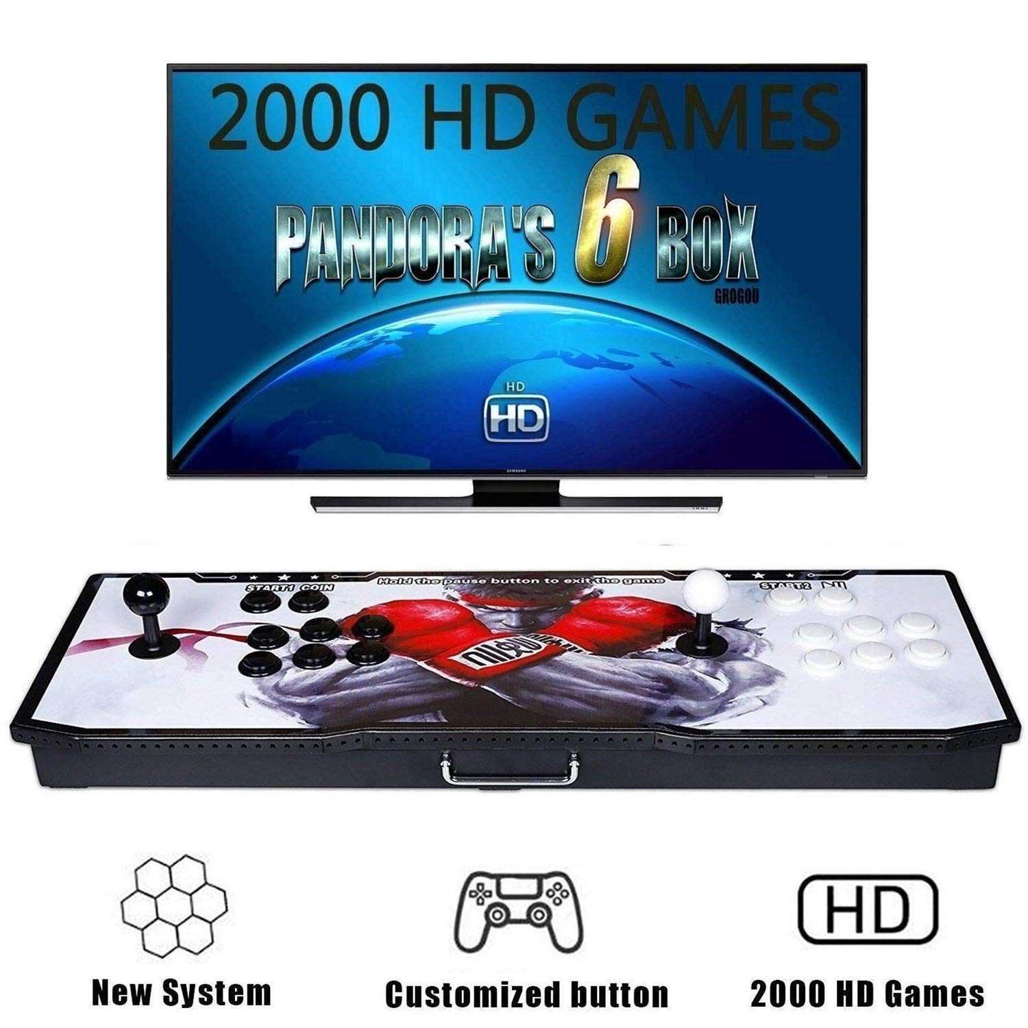 【2020 Games in 1】 Arcade Game Console Ultra Slim Metal Double Stick 2020 Classic Arcade Game Machine 2 Players Pandoras Box 6S 1280X720 Full HD Video Game Console for Computer & Projector & TV