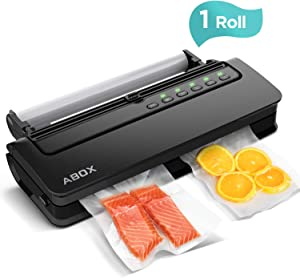 ABOX V63 Vacuum Sealer Machine, Food Vacuum Air Sealing System for Food Saver Storage, with Built-in Cutter, Starter Kit Roll and Holder (Renewed)