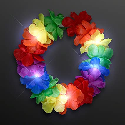 Amazon.com  Rainbow LED Hawaiian Lei Floral Headband Light Up Flower ... dba64f4c058