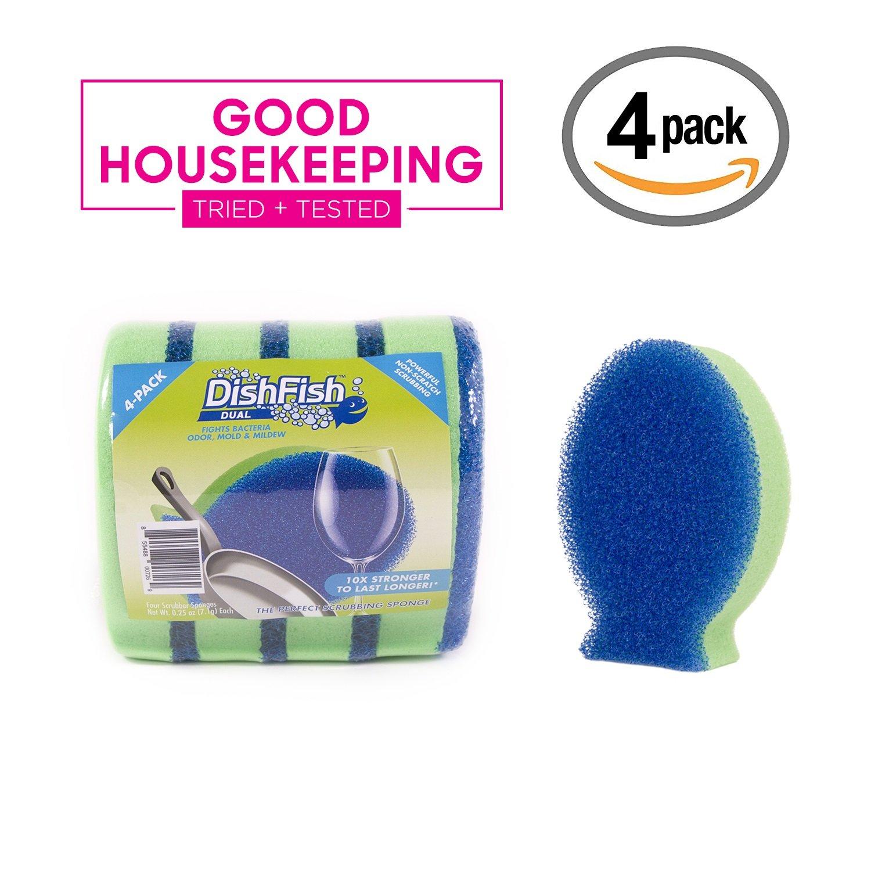 DishFish Dual Scrubber Sponge Non-Scratch Non-Smelling Ergonomic Multi-purpose Cleaning Sponge (4 Pack)