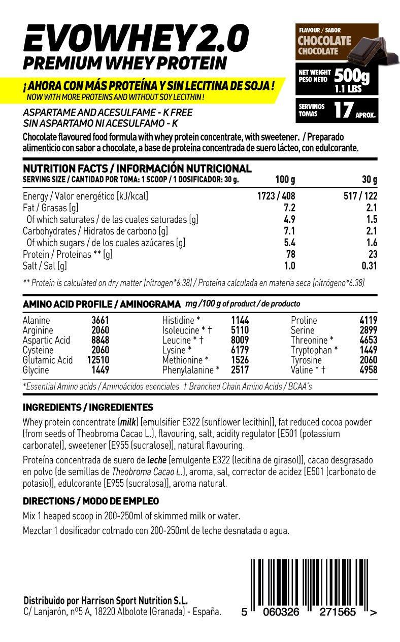 Whey Protein Concentrate (WPC) de HSN Sports - Concentrado de Proteína de Suero Evowhey 2.0 - Sabor Chocolate - 500 gr: Amazon.es: Salud y cuidado personal