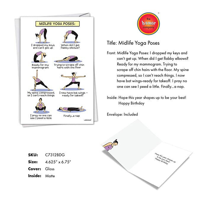 Midlife Yoga Poses - Birthday Card with Envelope (4.63 x 6.75 Inch) - With eight humorous poses of an older woman C7312BDG