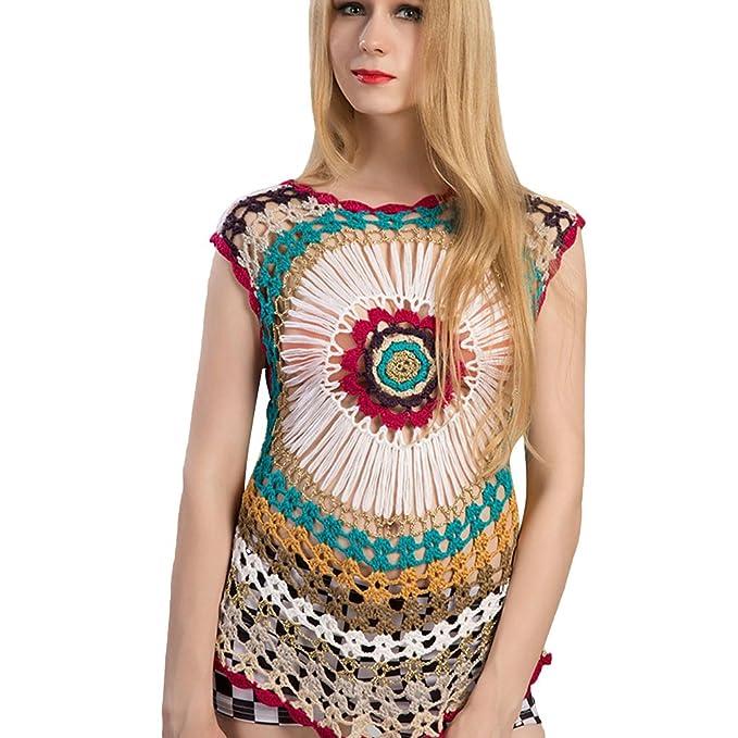 Baijiaye Mujer Blusa Tops Multicolor Indirecto Tejido De Punto Ahuecar Elegante Camiseta Big Plum Floral Tejer