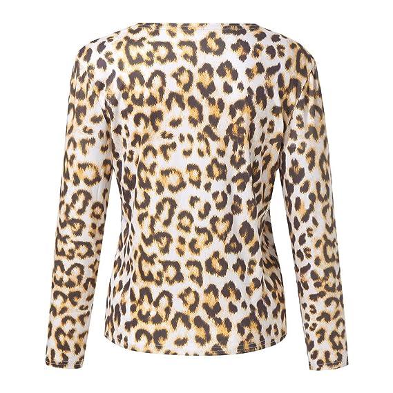 Longra❤ ❤ Blusa de Manga Larga para Mujer, Camiseta con Cuello en v Casual con Estampado de Leopardo para Mujer: Amazon.es: Ropa y accesorios