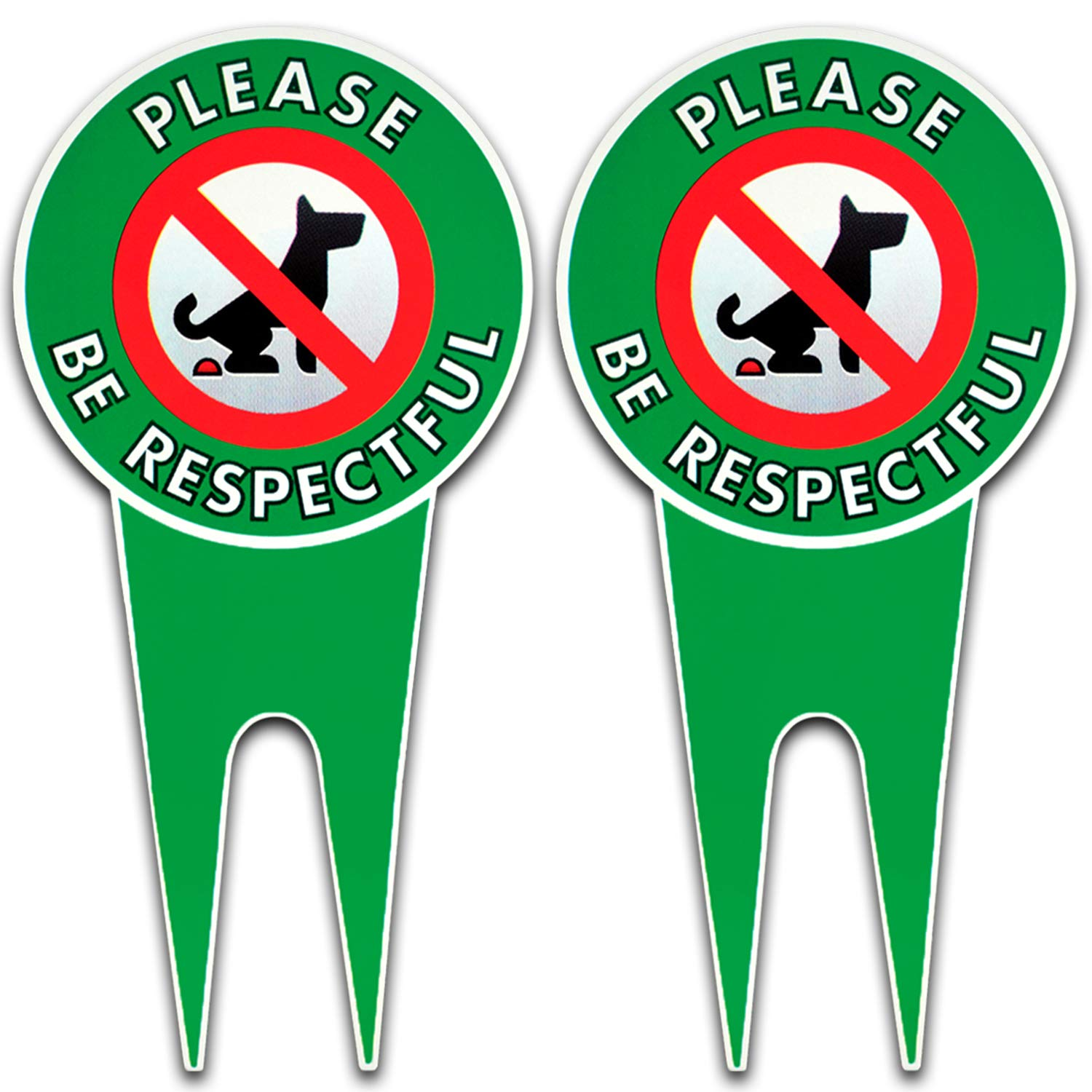 Two No Poop Dog Signs | Stop Dogs from Pooping On Your Lawn | Sign Politely Reads: Please Be Respectful | Protect Your Property! (No Pooping Bundle of 2)