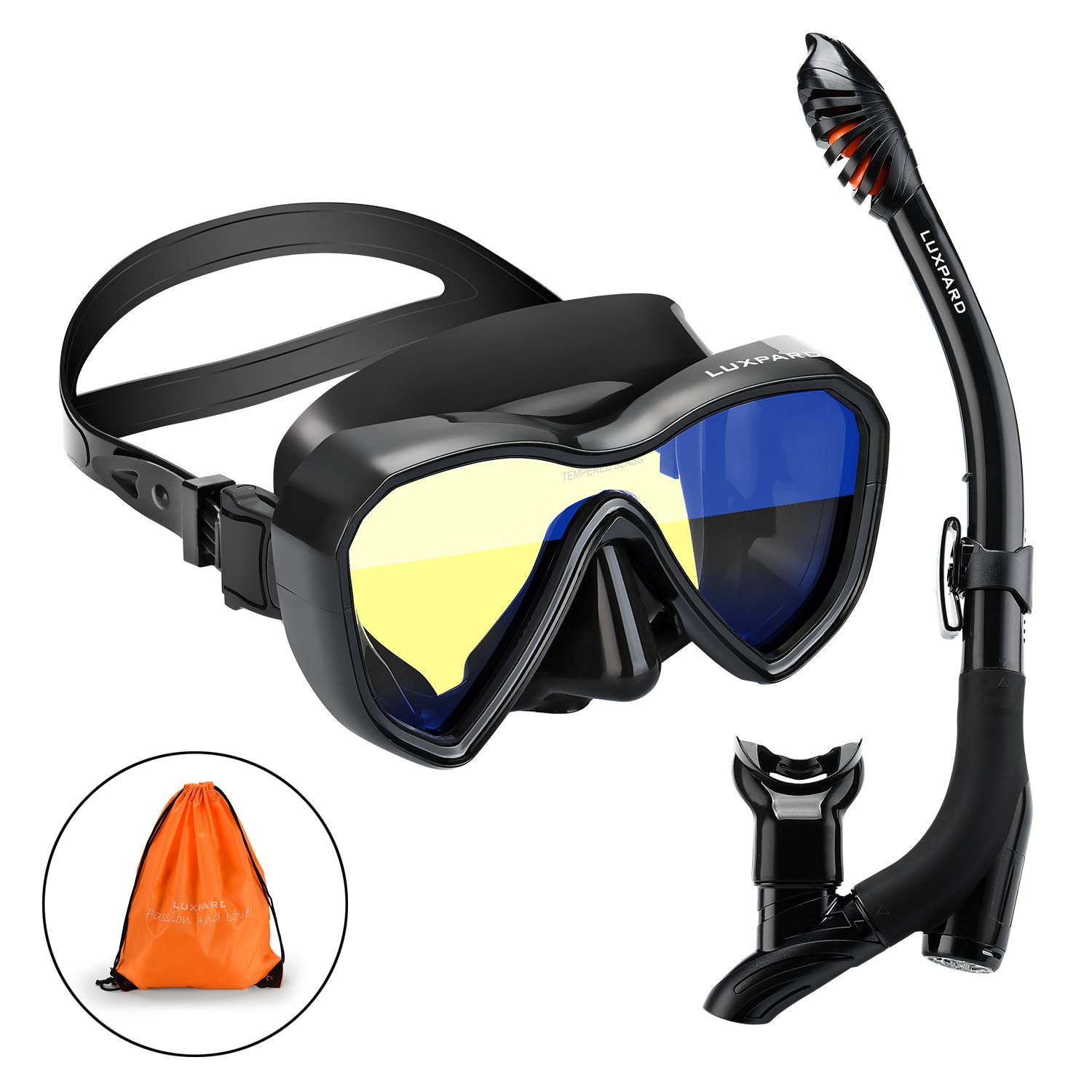LUXPARD Snorkel Set, Anti-Fog Panoramic View Snorkel Mask and Anti-Leak Dry Snorkel Tube, Snorkeling Gear for Adult and Youth, Snorkel Kit Bag Included (Black) by LUXPARD