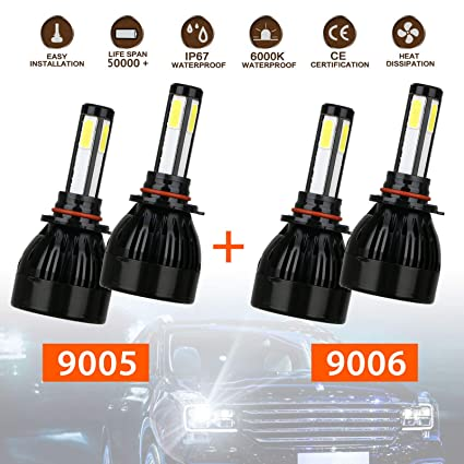 9005+9006 Combo 4 Sides CREE LED Headlights Conversion Kit Total 160W  16000LM High/Low Beam, 2 Sets 9005 HB3 9006 HB4 Headlight Bulbs COB Chips  IP67